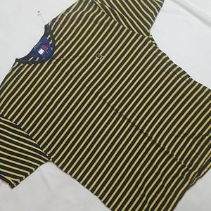 Vtg Tommy Hilfiger Yellow/Blue Striped Classic Tee